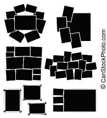 ensemble, photo, arrière-plan., vecteur, conception, gabarit, cadres, blanc, composition