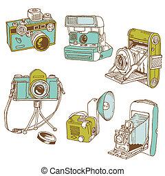 ensemble, photo, cameras, -, hand-drawn, vecteur, doodles
