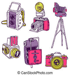 ensemble, photo, cameras, -, hand-drawn, vecteur, doodles