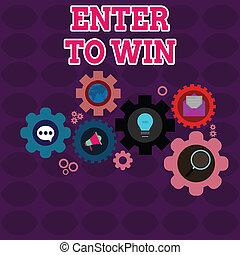 ensemble, photo, global, signe, quelque chose, échanger, gestion réseau, icônes, gear., enjôleur, win., ligne, conceptuel, roue, coloré, projection, entrer, chance, prix, intérieur, valeur, texte, dent, social, ou