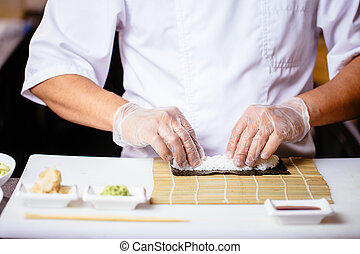 ensemble, photo., haut, tondu, chef cuistot, mettre, cuisinier, fin, riz, mâle