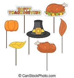 ensemble, photo, national, pumpkin., thanksgiving, automne, rôti, turquie, shoot., photographing., appui verticaux, vacances, chapeau, symbole, éléments, fête, signe., historique, pèlerin, leaves., traditionnel, frais