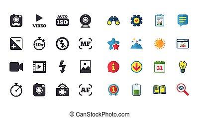 ensemble, photo, signe., icons., appareil photo, vidéo
