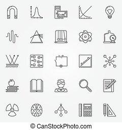 ensemble, physique, icônes