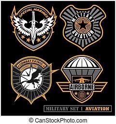ensemble, pièces, armée, typographie, autre, t, militaire, uses., écusson, chemise