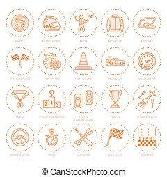 ensemble, pictogramme, piste, automobile, coup, signes, sport, vitesse, casque, jeude dames, wheel., -, drapeaux, courses, magasin, championnat, linéaire, auto, editable, icons., ventilateur, ligne, direction, événement, voiture, coureur, vecteur