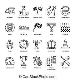 ensemble, pictogramme, piste, automobile, coup, signes, sport, vitesse, casque, jeude dames, wheel., -, drapeaux, courses, championnat, linéaire, auto, editable, icons., ventilateur, store., ligne, direction, événement, voiture, coureur, vecteur