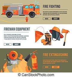 ensemble, pictures., pompier, grand, pompier, bannières, vecteur, endroit, texte, illustrations, horizontal, flame., outils, ton