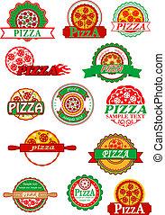 ensemble, pizza, étiquettes, emblèmes, bannières, italien