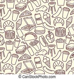 ensemble, pizza, chinois, jeûne, barbecue, pop-corn, poulet, gril, icônes, (hamburger, glace, saucisses, nourriture chaude, nourriture, frites, jambes, chien, crème, crêpes, café, sandwich, mince, frit, taco)