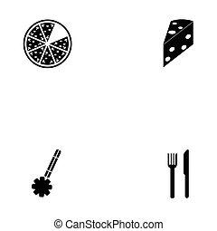ensemble, pizza, icône