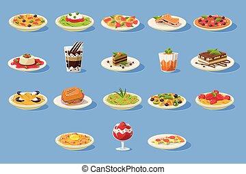 ensemble, pizza, plats, nourriture, grand, cusine, illustration, desserts, vecteur, pâtes, italien