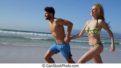 ensemble, plage, 4k, courant, couple, romantique
