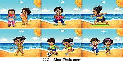 ensemble, plage, africaine, gosses