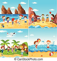 ensemble, plage, enfants