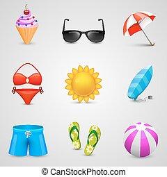 ensemble, plage, icônes
