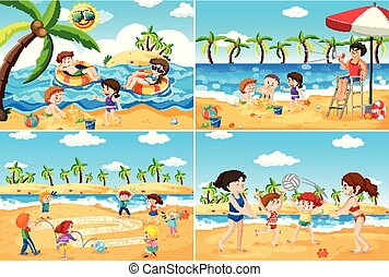 ensemble, plage, jouer, enfants