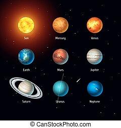 ensemble, planètes, espace, soleil, système, vecteur, solaire, fond, objects.