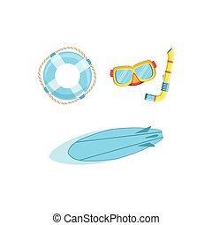 ensemble, planche surf, watersports, euipment, masque, ...