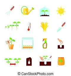 ensemble, plant, icônes