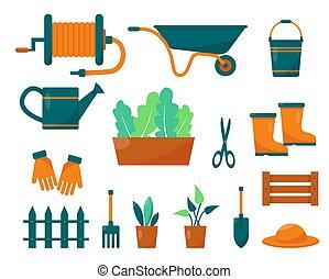 ensemble, plants., outils, jardinage