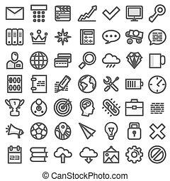 ensemble, plat, icons., vecteur, illustration