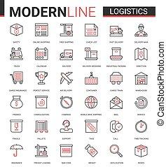 ensemble, plat, mobile, affrétez transport, site web, ligne, service, chargement, illustration, app, icône, transport, livraison, expédition, entrepôt, logistique, vecteur