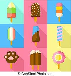 ensemble, plat, popsicle, style, icône