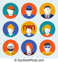 ensemble, plat, style, avatar, icônes