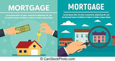ensemble, plat, style, bannière, hypothèque