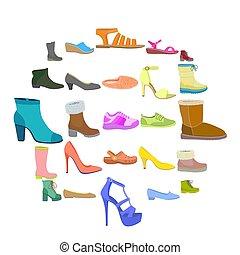 ensemble, plat, style, chaussures, icône