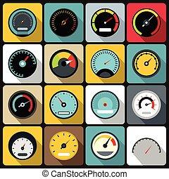 ensemble, plat, style, compteur vitesse, icônes