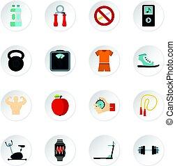 ensemble, plat, style, fitness, icônes