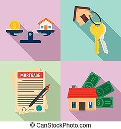 ensemble, plat, style, hypothèque, icônes