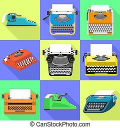 ensemble, plat, style, machine écrire, icônes
