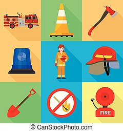 ensemble, plat, style, pompier, icône