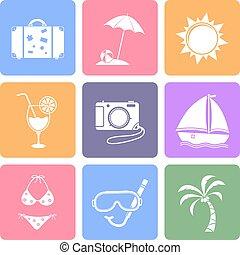 ensemble, plat, voyage, conception, icônes