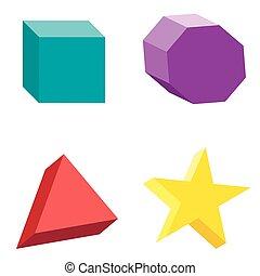 ensemble, platonic, coloré, formes, illustration, vecteur, solides, géométrique