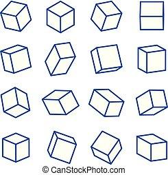 ensemble, platonic, formes, illustration, vecteur, solides, ligne géométrique, icône