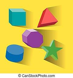 ensemble, platonic, illustration., coloré, formes, vecteur, solides, géométrique