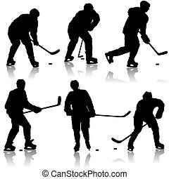 ensemble, player., isolé, silhouettes, hockey, blanc