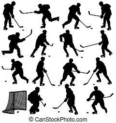 ensemble, player., isolé, silhouettes, hockey, white., illustrations.