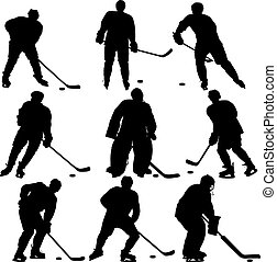 ensemble, player., isolé, silhouettes, white., hockey