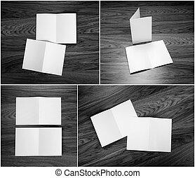 ensemble, plier, compagnie, booklets, conception, papier, vide, flyer., blanc, constitué, gabarits, identité, style