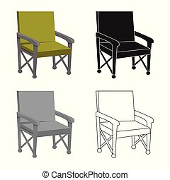 ensemble, plier, stock., fauteuil, signe., vecteur, conception, chaise, icône
