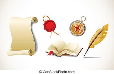 ensemble, plume, papier, -, vecteur, retro, compas, livre, icône