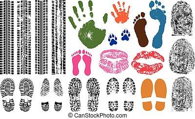 ensemble, pneu, handprint, lèvres, collection, imprimer, evidence., vecteur, empreinte doigt, illustration, tracks., impression, empreinte