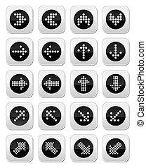 ensemble, pointillé, icônes, flèches, rond, isola