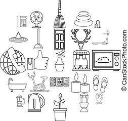 ensemble, poivrot, style, contour, icônes