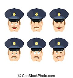 ensemble, police, policier, cop., agent police, émotions, cheerful., bon, avatar, découragé, icon., figure, expressions, evil.